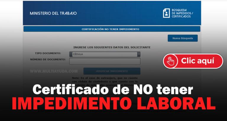 certificado de no tener impedimento laboral